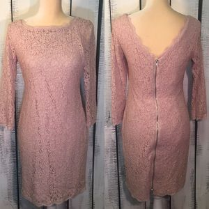 Adrianna Papell Pink Lace 3/4 Sleeved Dress